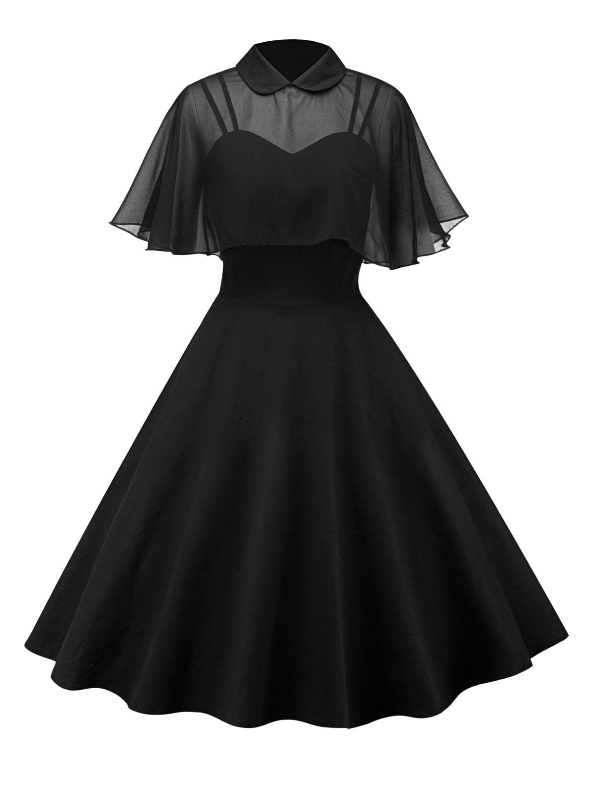 1950s Cape Patchwork Swing Dress Retro Stage Chic