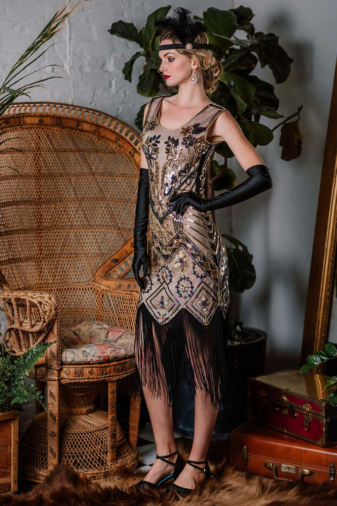 1920s Floral Beaded Flapper Dress