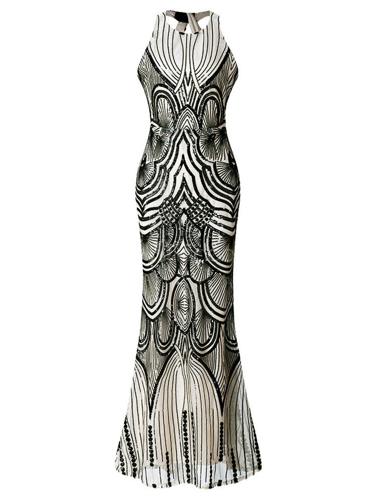7f68a9ba377 1920s Sequin Backless Formal Dress – Retro Stage - Chic Vintage ...