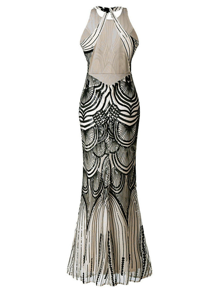 US Only 1920s Sequin Backless Formal Dress