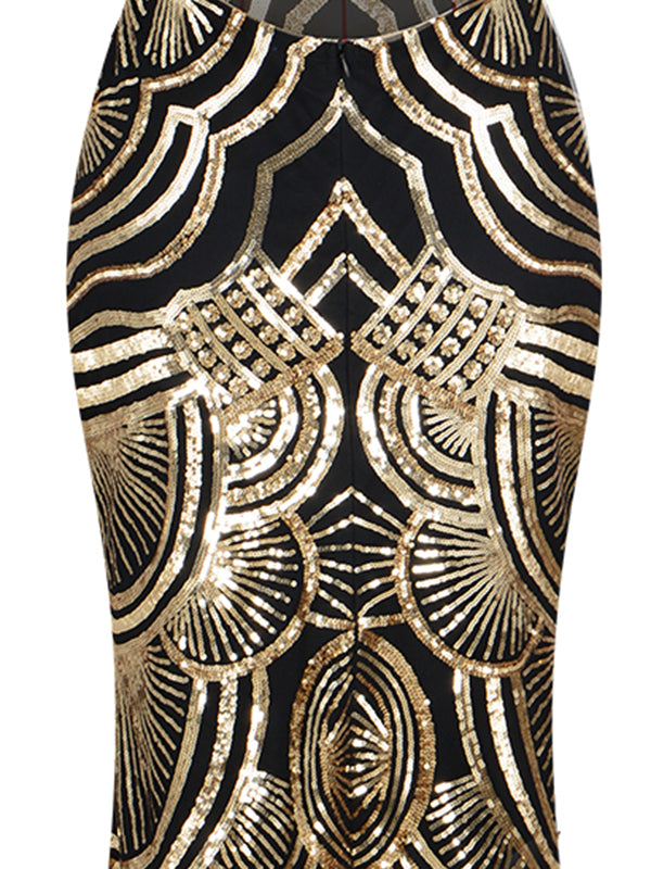 1920s Sequin Backless Formal Dress