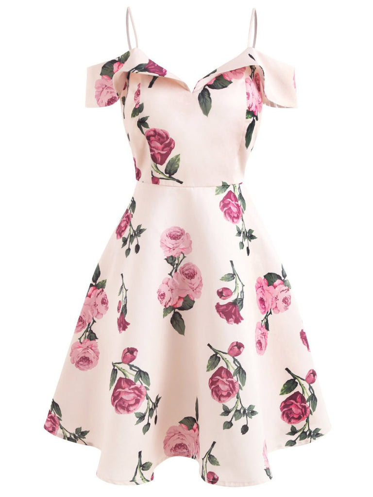Pink 1950s Floral Spaghetti Strap Dress