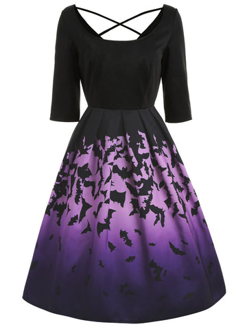 Black 1950s Bat Patchwork Dress