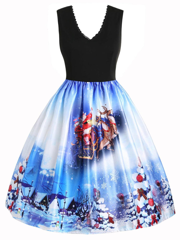 Blue 1950s Christmas Reindeer Swing Dress