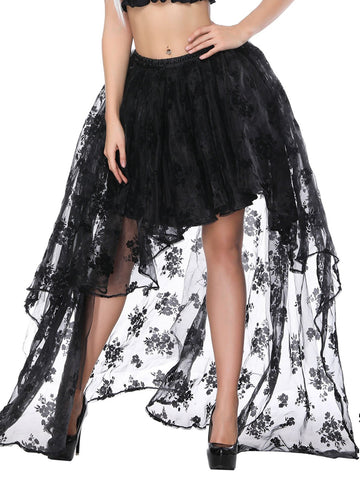 Black Lace Steampunk Hilo Skirt