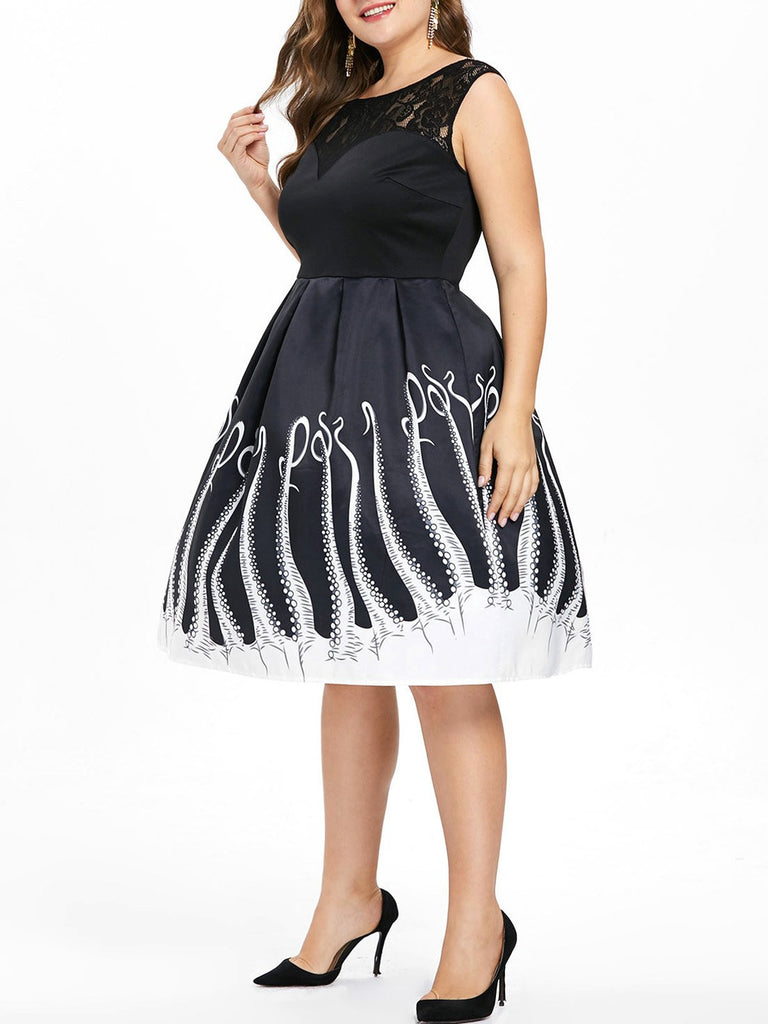 Black 1950s Plus Size Octopus Dress
