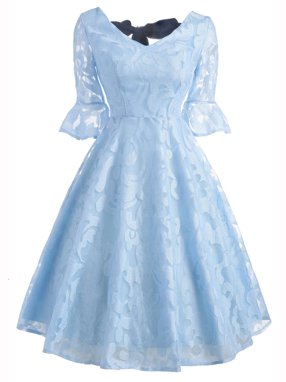 1184f026e3b0 Blue 1950s Back Lace Up Swing Dress - Retro Stage - Chic Vintage ...