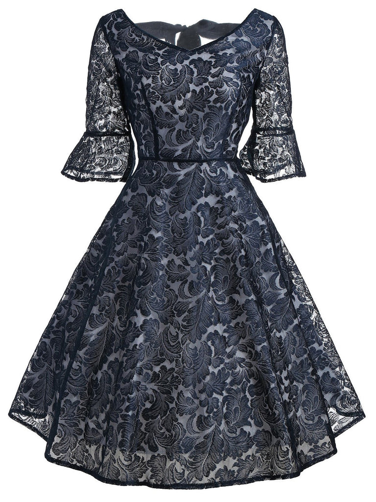 Dark Blue 1950s Back Lace Up Dress