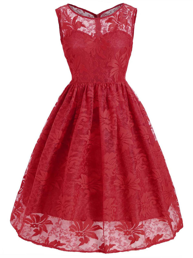1950s Lace Floral Swing Dress