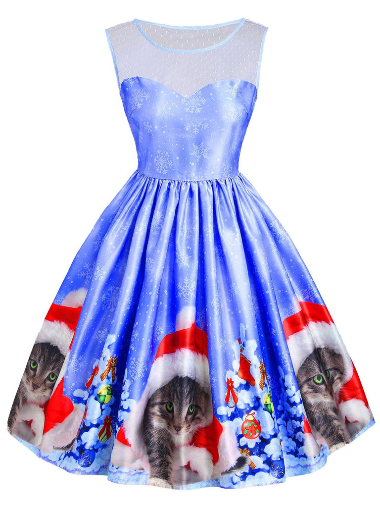 Blue 1950s Christmas Cat Dress