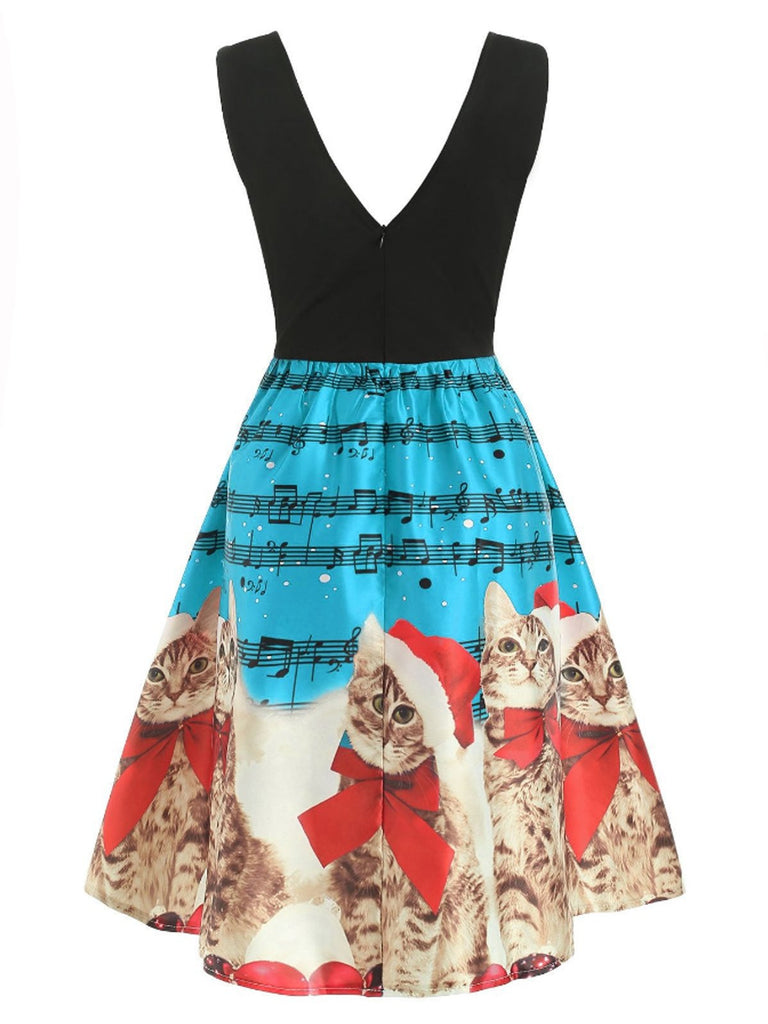 Blue 1950s Cat Swing Dress
