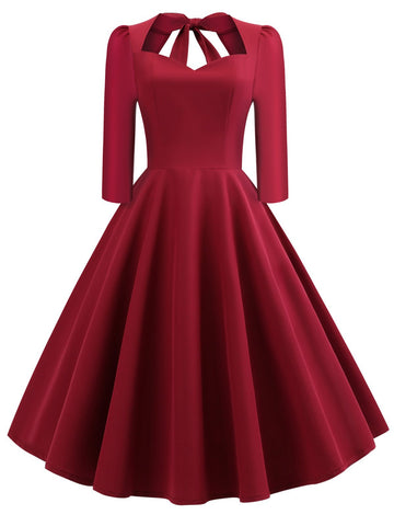 Wine Red 1950s Solid 3/4 Sleeve Dress