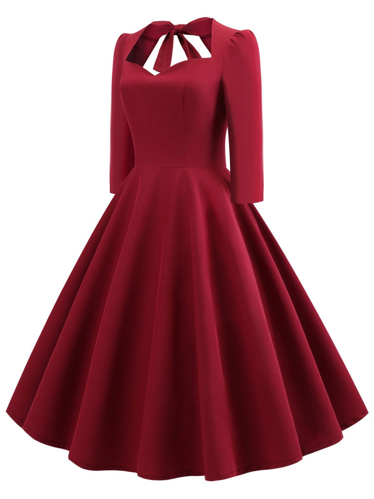 US Only 1950s Solid 3/4 Sleeve Dress
