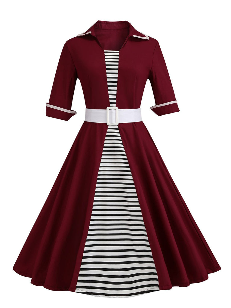 1950s Stripe Patchwork Swing Dress