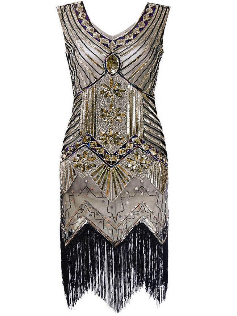 US Only Plus Size 1920s Sequined Dress