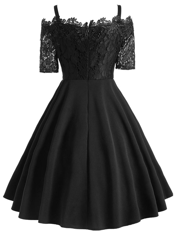 1950s Lace Patchwork Swing Dress Retro Stage Chic