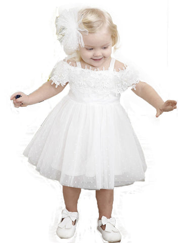 White Toddler Floral Mesh Tutu Dress