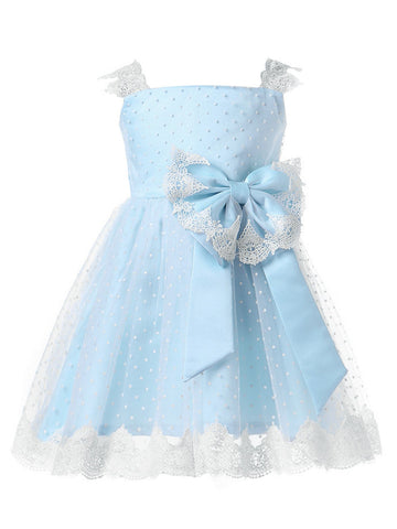 Blue Toddler Square Neck Strap Dress