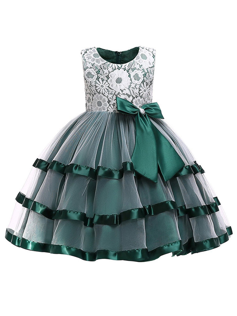 Green Toddler Lace Bow Tutu Dress