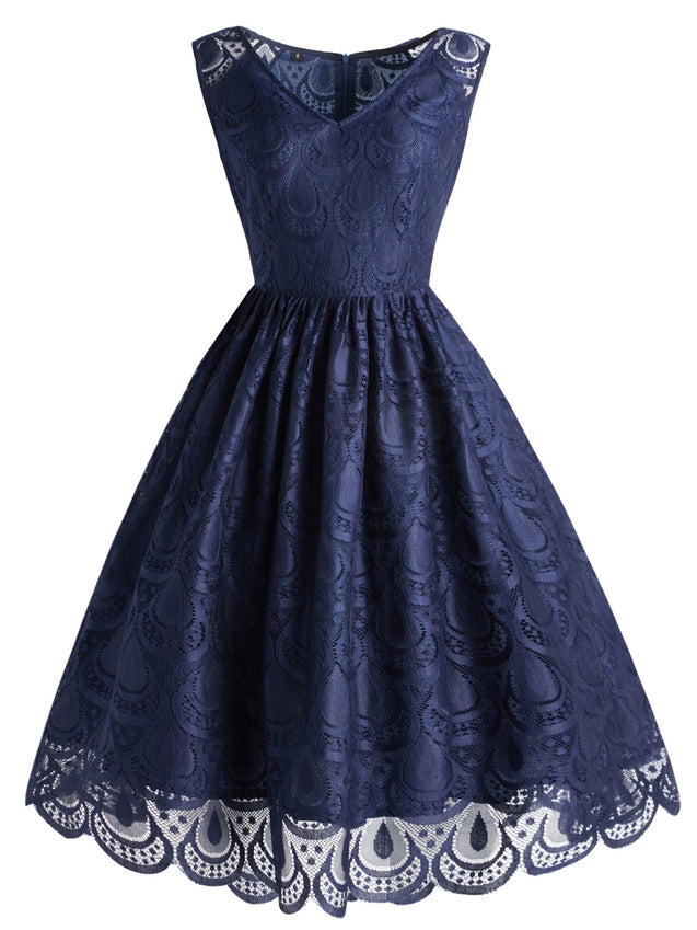 Dark Blue 1950s Lace Floral Dress