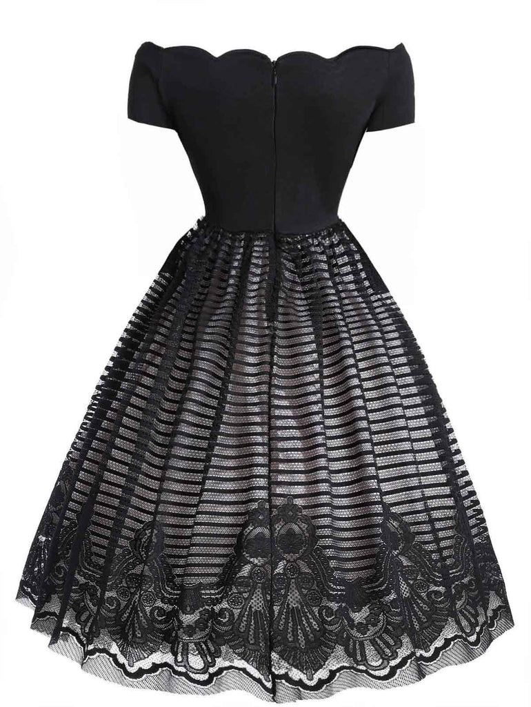 1950s Mesh Patchwork Off Shoulder Dress