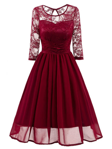 1950s Mesh Patchwork Swing Dress