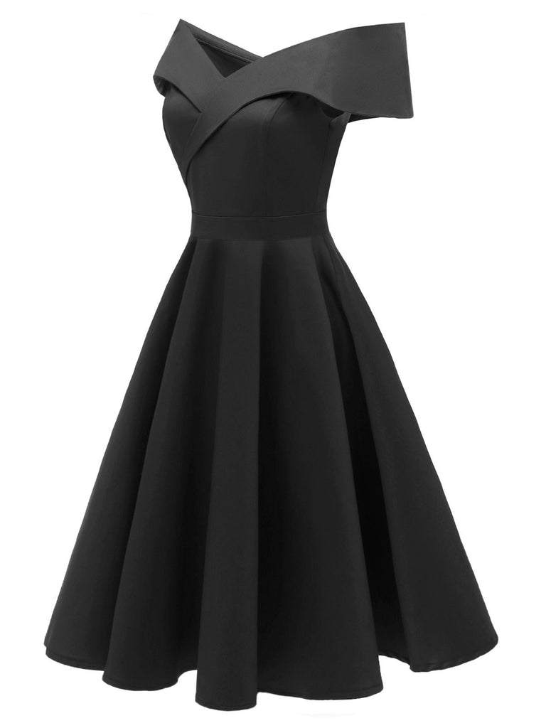 1950s Off Shoulder Swing Dress