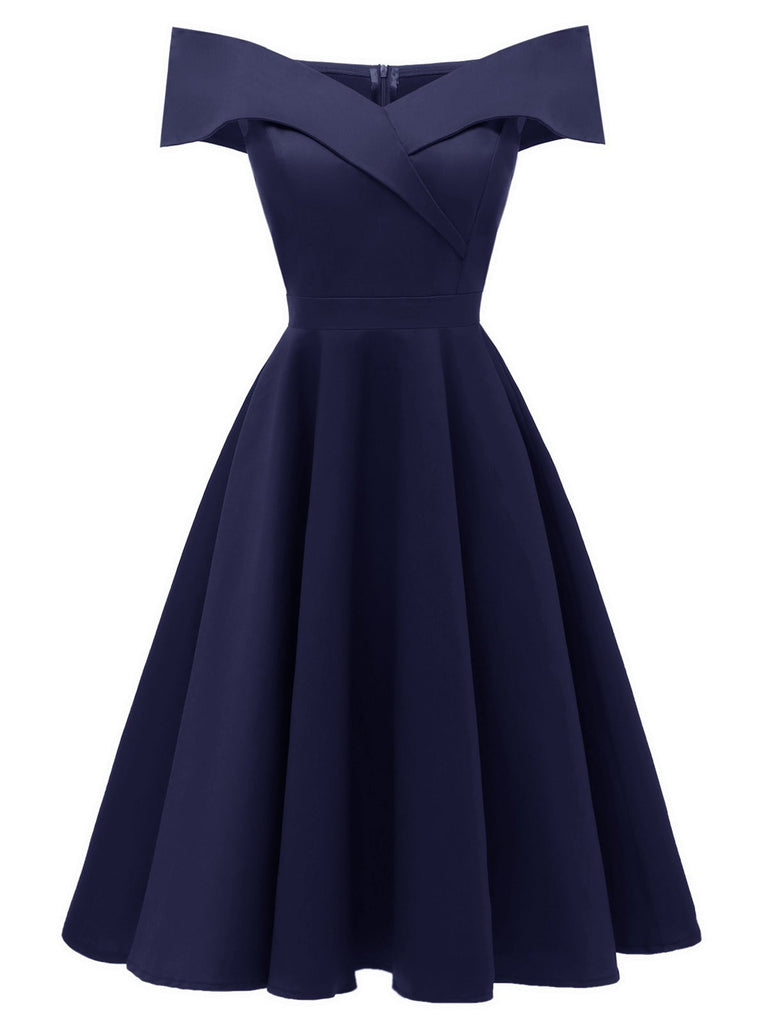 US Only 1950s Off Shoulder Swing Dress