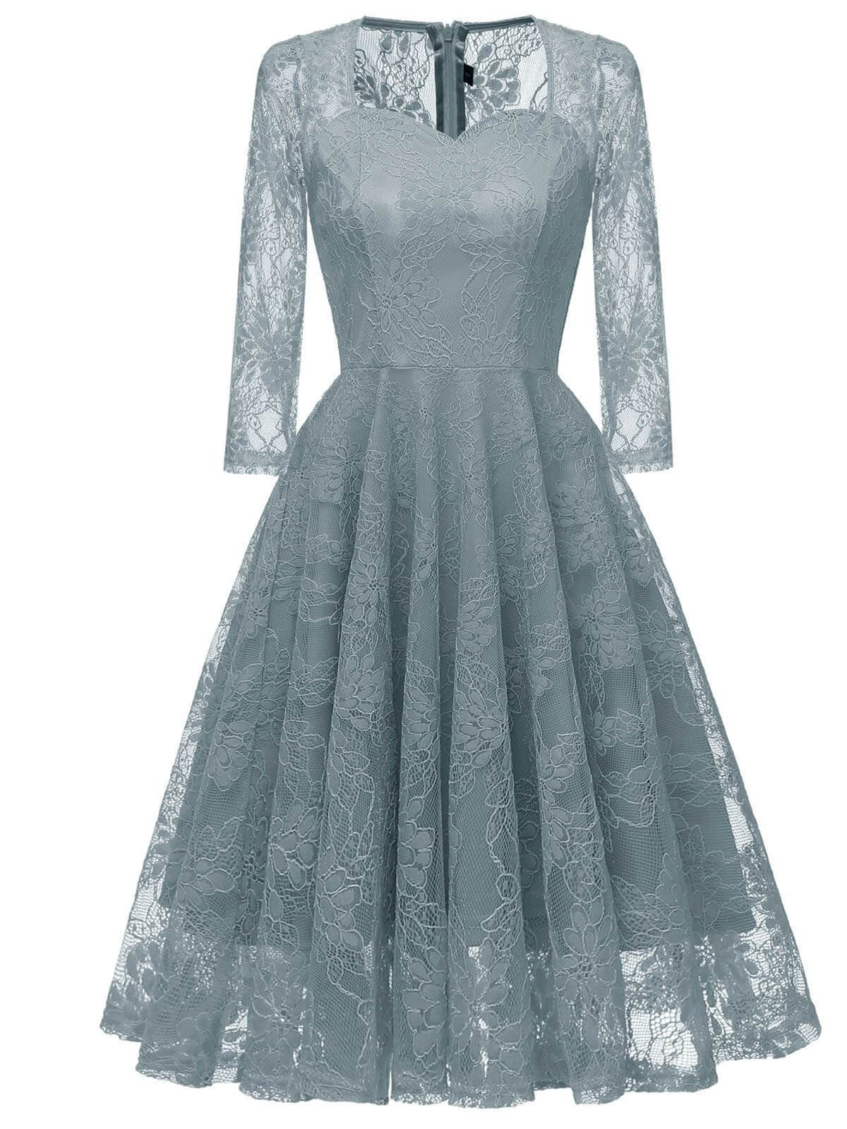 5cad7b76a2eb 1950s Lace 3/4 Sleeve Swing Dress - Retro Stage - Chic Vintage ...