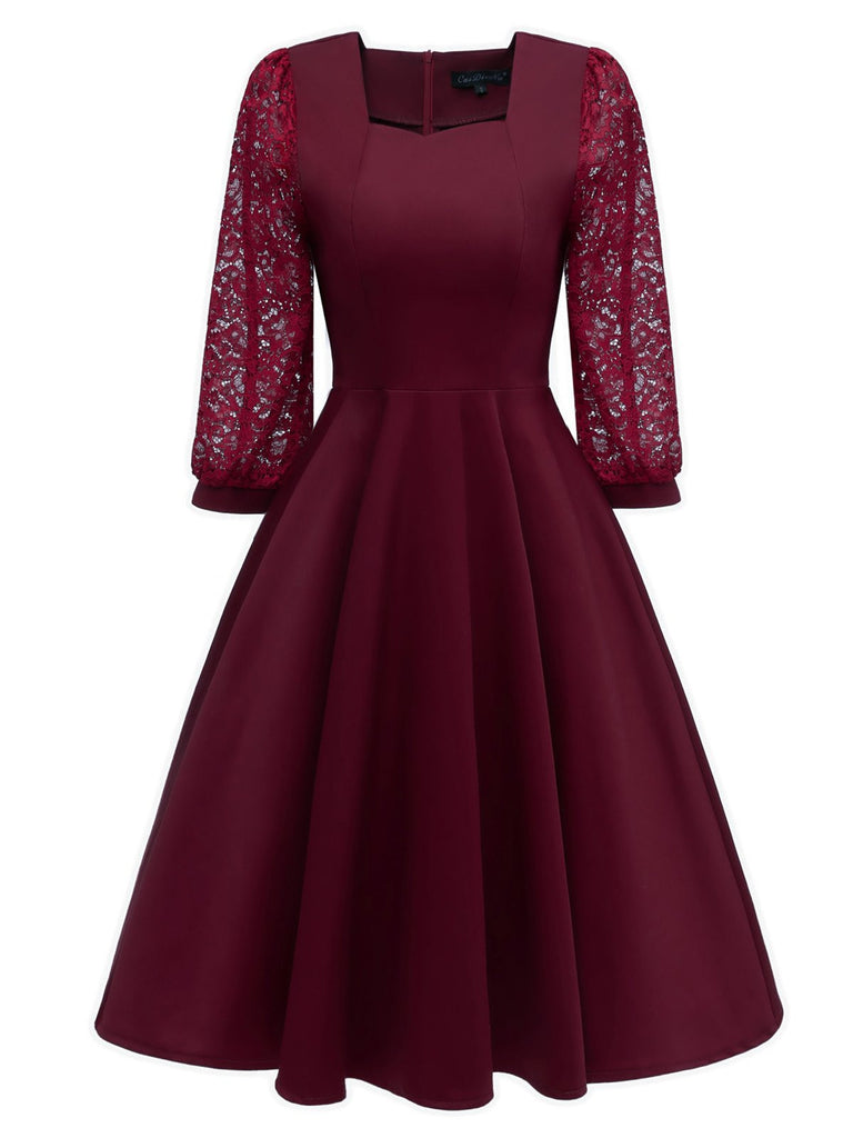 Wine Red 1950s Lace Patchwork Square Neck Dress