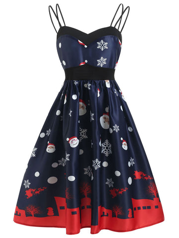 Blue 1950s Santa Claus Snowfall Dress