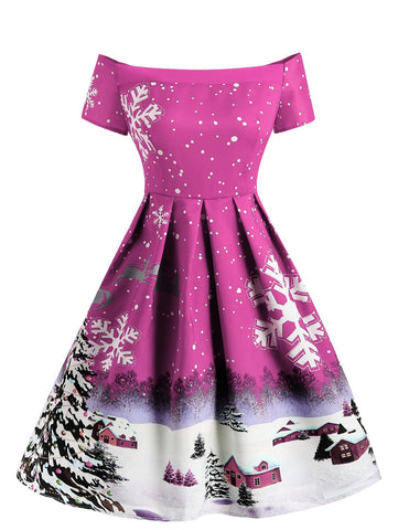 Rose Purple 1950s Snowfall Dress