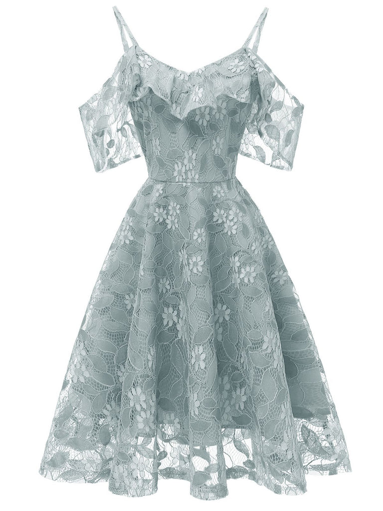 1950s Lace Cold Shoulder Ruffle Dress