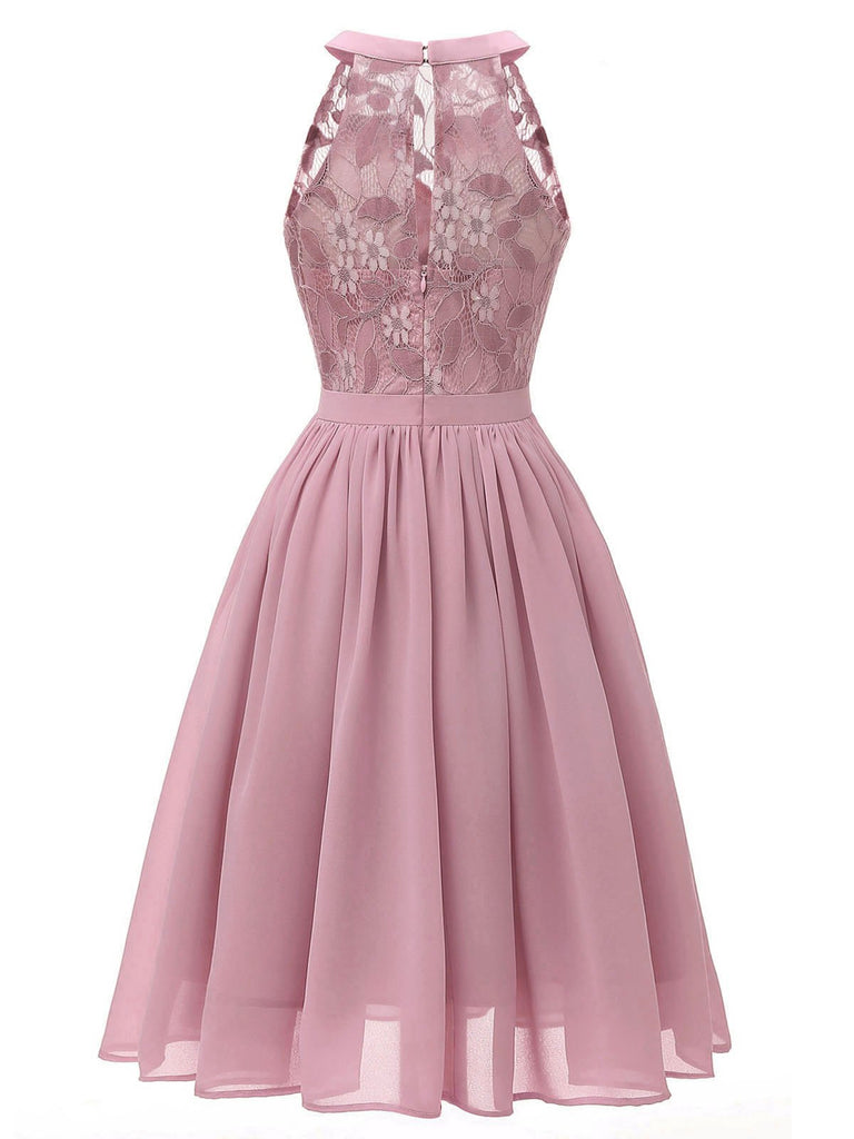 Pink 1950s Floral Lace Swing Dress