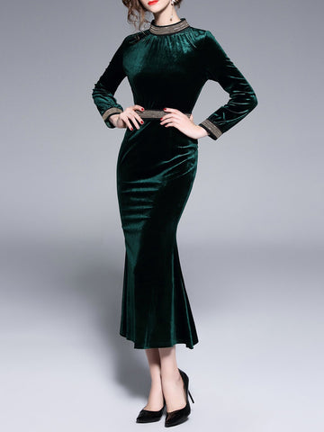 Dark Green Velvet Standing Collar Dress