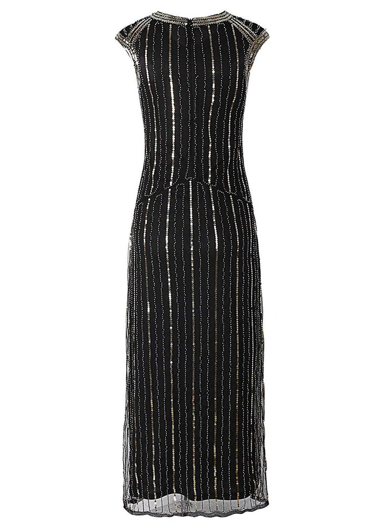 Black 1920s Beaded Sequin Dress