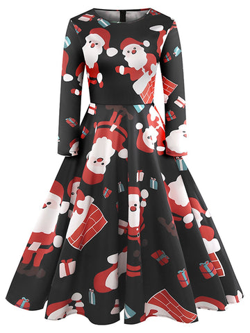 Black 1950s Christmas Santa Claus Dress