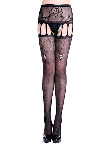 Lace Hollow Crotchless Stockings