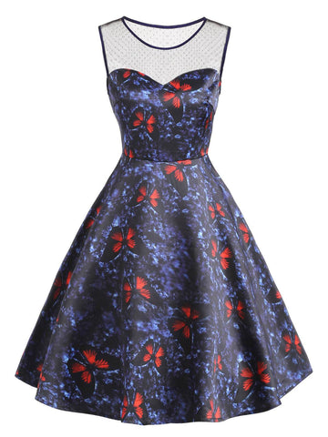 Blue 1950s Butterfly Patchwork Dress