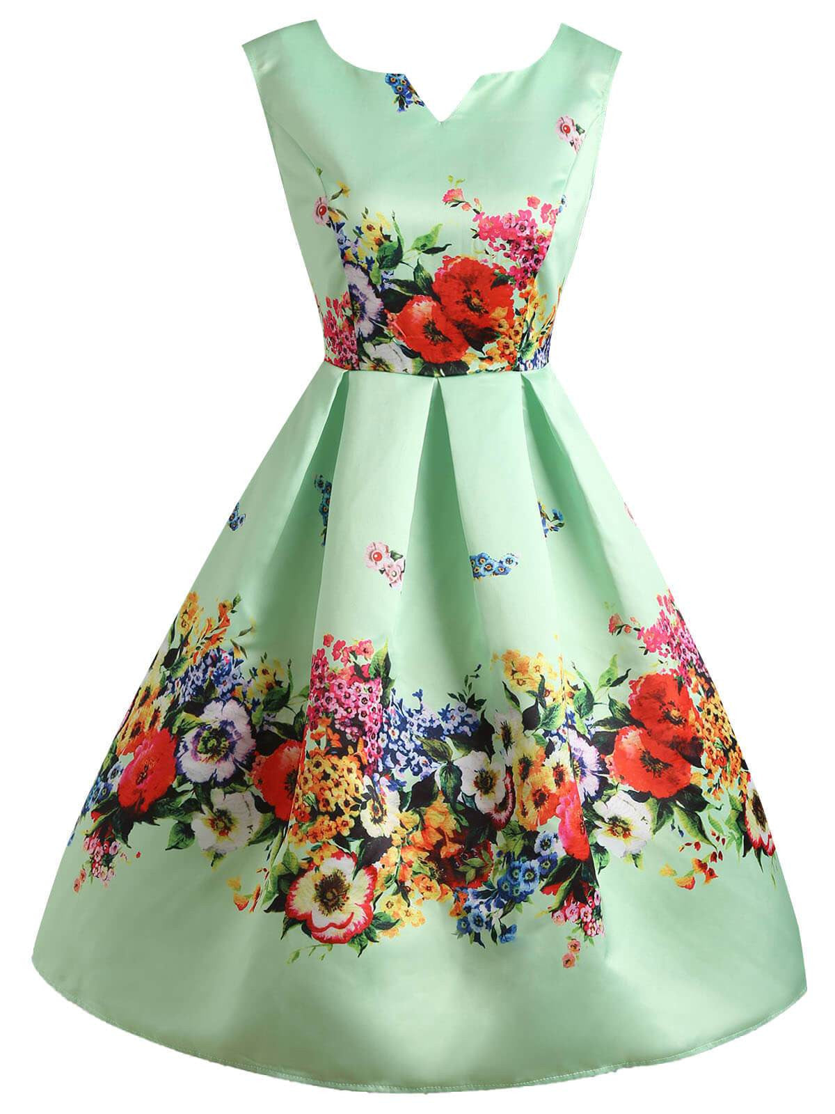 1740b36a92dd Green 1950s Floral Swing Dress - Retro Stage - Chic Vintage Dresses ...