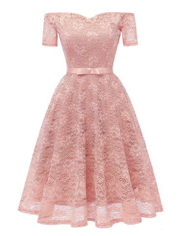 1950s Lace Floral Off Shoulder Dress