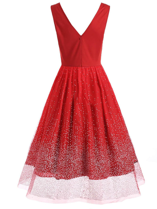 Red 1950s Sequin Sleeveless Swing Dress