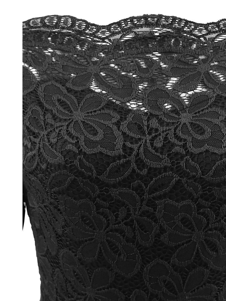 Black 1950s Lace Off Shoulder Dress