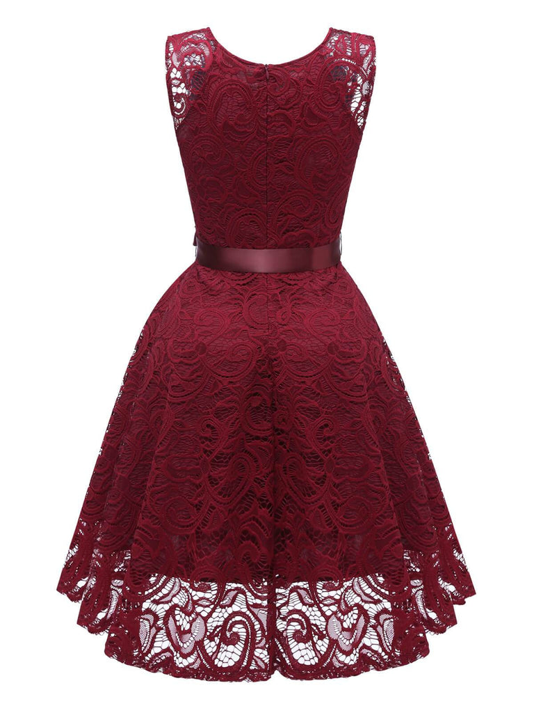 1950s Lace V Neck Bow Dress