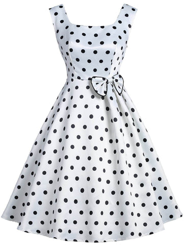 White 1950s Polka Dot Bow Dress