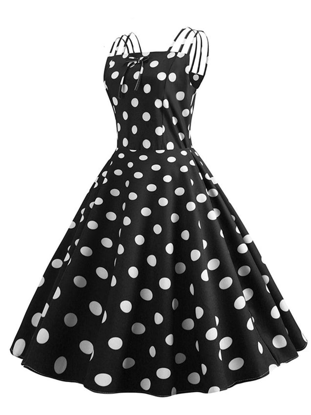 1950s Spaghetti Strap Polka Dot Dress