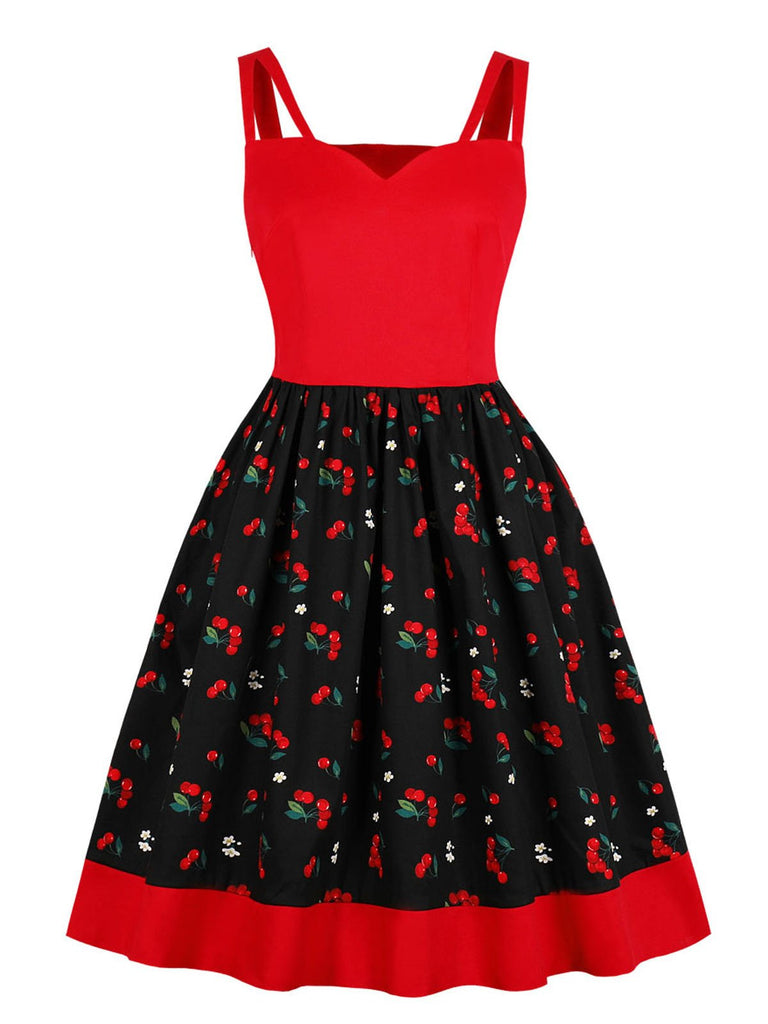 Red 1950s Cherry Strap Swing Dress