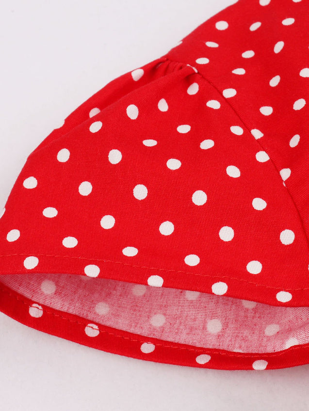 Red 1950s Polka Dot Swing Dress