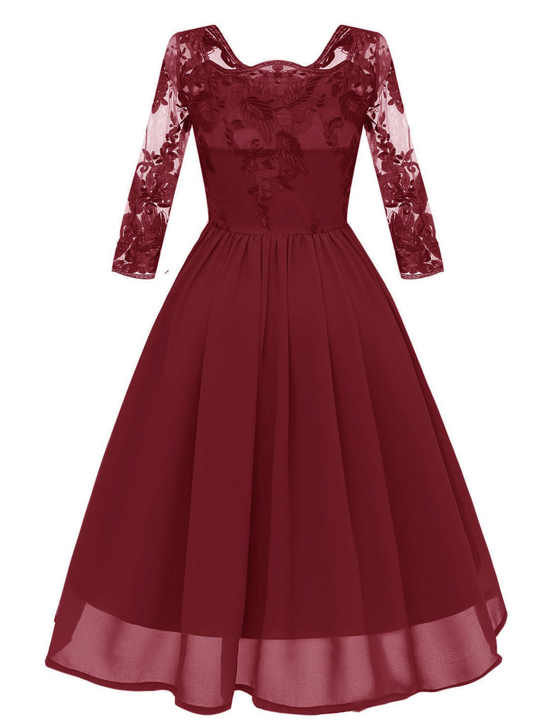 1950s Embroidery Lace A-line Dress