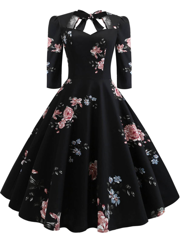 US Only 1950s Floral Lace Up Swing Dress